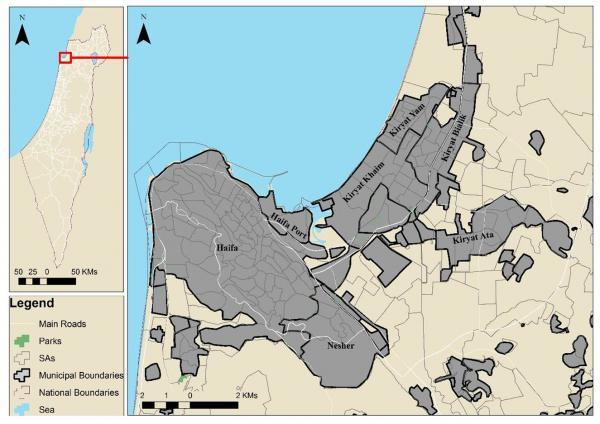Study area map - Israel - Haifa Metropolitan