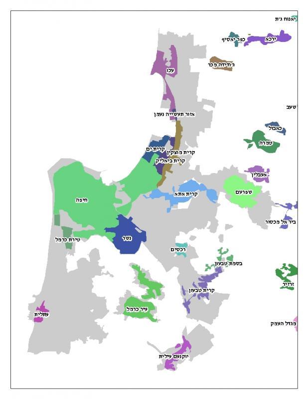 Study area map - Israel - Haifa Metropolitan (Hebrew)